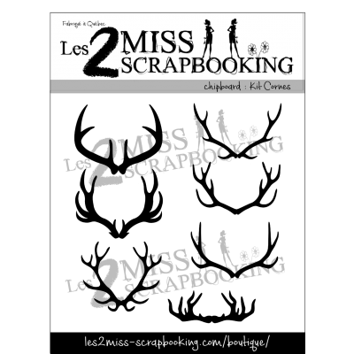 Chipboard Les 2 MIss Scrapbooking - Kit cornes